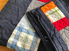Pottery Barn Kids Full Quilt, QUEEN Striped Plaid Navy Orange with Standard Sham