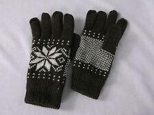 Fairisle Gloves Mens Snowflake Fairisle Gloves Unisex Winter Gloves Brown Gloves