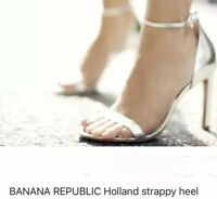 Banana Republic Womens Holland Strappy Heel Sandals Silver 6M