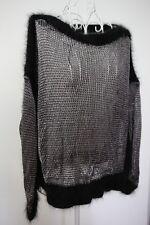 NWT Jean Paul Gaultier Black Silver knit jumper top w/ cashmere details XS