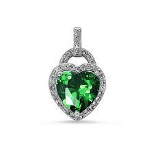 Emerald & CZ Heart .925 Sterling Silver Pendant