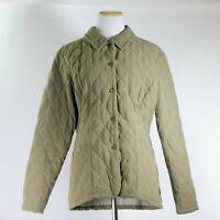 Barbour L19 Shaped Microfibre Quilt Short Khaki Tan Button Jacket Women Size 8