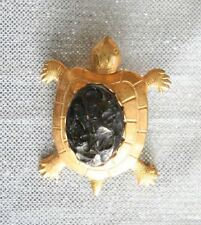 Charming Gold-tone Black Glass Turtle Brooch 1950s vintage