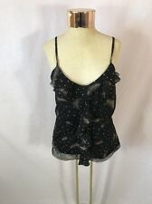 Women's REVOLUTION by RICKI'S Black Tank Top With Feather Pattern - Sz L