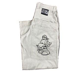 Vtg. 90s JNCO Jeans Baggy ABOMB L Embroidered Cargo Pocket Logo Skater Wide Leg