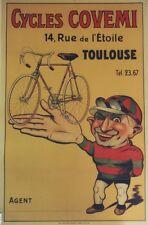 """""""CYCLES COVEMI"""" Affiche originale entoilée Litho vers 1920 69x104cm"""