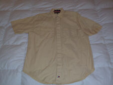 Authentic Tommy Hilfiger Military Style Cotton Shirt Pale Yellow Mens Size M