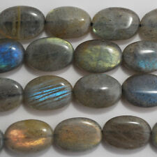 10 Grade A Natural Labradorite Semi-precious Gemstone Beads - Oval - 14mm