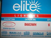 "Elite Lighting 1PC B603WH 6"" TRIM WHITE   FOR R30 OR PAR 30 LAMPS 1 TRIM"