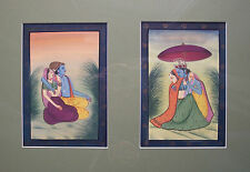 Pair of Vintage South Asian Paintings - Gouache & Gilt - Framed - 20th Century