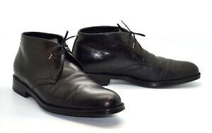 B5 SALVATORE FERRAGAMO Black Leather Lace Up Chukka Boot Shoes Sz 6.5 EU 39.5