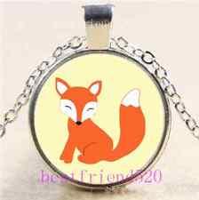 Vintage fox  Cabochon Tibetan silver Glass Chain Pendant Necklace #F14