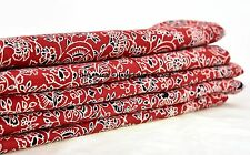 2.5 Yard Ajrakh Red Indian Block Print 100 %Cotton Fabric Running Fabric Throw