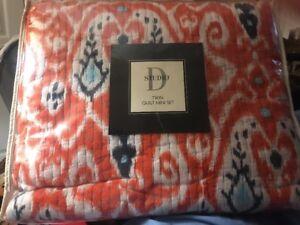 Studio D Kalli 2 Piece Twin Mini Comforter Quilt Set ~ Paisley ~ Orange/Multi