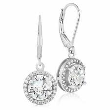 Zirconia Halo Leverback Dangle Earrings 925 Sterling Silver Round Aaa Cubic