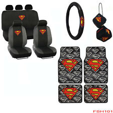 New Set Superman Logo Car Front Back Seat Covers Floor Mats Hanging Dice & More