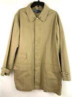 Polo By Ralph Lauren Mens Large Beige Tan Trench Overcoat Jacket Hidden Button