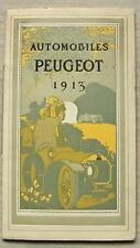 PEUGEOT AUTOMOBILES Car Sales Brochure 1913 FRENCH TEXT Draeger Print