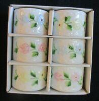 Vintage Shefford Handpainted set of 6  ceramic floral pattern napkin rings