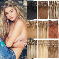 "New Full Head Clip In 100% Remy Human Hair Extensions Hair Weft 15"" 18"" 20"" 70g"