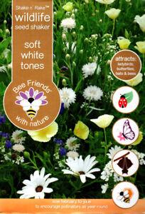 Soft White Shades 10,000 Flower Seeds/Shake n' Rake/20 Varieties/Covers 25 sq m