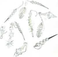 Vintage Teardrops Icicles Decorative Ornaments Various Faceted Lucite Lot Of 11