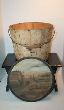 Antique Staved Firkin Sugar Pail Bucket Painted Scene On Lid And Bail Handle