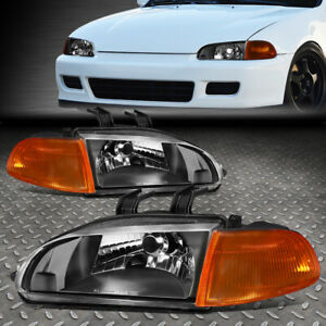 FOR 92-95 HONDA CIVIC BLACK HOUSING AMBER CORNER HEADLIGHT REPLACEMENT LAMPS