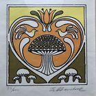 Vintage 1970's Print Framed Art Mushrooms Dove Tulip Heart Signed Unknown Artist