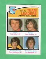 1976-77 OPC O PEE CHEE  # 390  Rangers Team Leader nrmnt-mt
