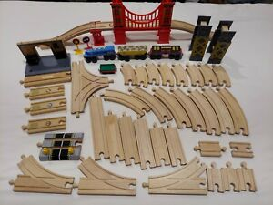 LOT of Thomas Train Brio Wooden Track with Bridge, sound pieces, hill. All used.