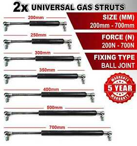 2X UNIVERSAL GAS STRUTS SPRINGS 200-700mm 200-700N BALL JOINT FOR MULTI PURPOSE