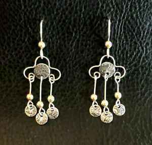 """Sterling Silver Earrings Chandelier Gold Accent Stamped Coins 1.6"""" 2g 925 #1859"""