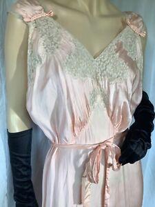 Vintage silk Satin bias Negligee 30s deco Nightgown lace XXL sleeveless Maxi 48