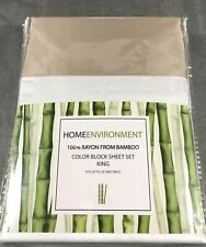 King Sheet Set 100% Bamboo Home Environment White w/Cappuccino Beige Hem+Cuffs