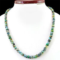 GENUINE 180.00 CTS NATURAL UNTREATED PERUVIAN OPAL ROUND SHAPED BEADS NECKLACE