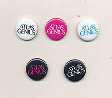 Atlas Genius Rare set of 5 promo buttons (different colors)