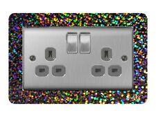 Simple Interrupteur de lumière//Socket Surround Acrylique doigt plaque or Sequin
