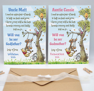Personalised Winnie The Pooh Will You Be My Godmother Godfather Godparents Card