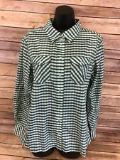 Simms Guide Series Fishing Shirt Size Large Green Plaid Pearl Snap Long Sleeve