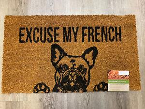 FRENCH BULL DOG Coir Door Mat, 70 X 40cm, 100% Natural, ECO DOOR MAT