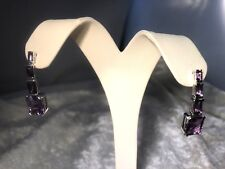 MULTI-CUT AMETHYST STERLING SILVER DROP EARRINGS 6.50 cttw (M952-38)