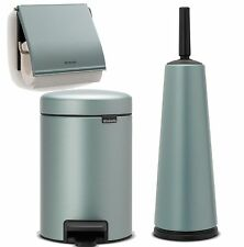 Brabantia Toilet Bathroom Set Brush Paper Holder Rubbish Bin Metallic MINT