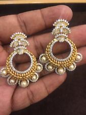 Stunning 19.98 Cts Natural Diamonds Pearl Stud Earrings In Solid 14K Yellow Gold