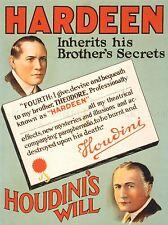 Publicité hardeen Houdini mystères magicien illusion sera Poster lv382