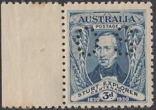 Australia 1930 3p Sturt, Os Perfin Nh Fvf (41719)