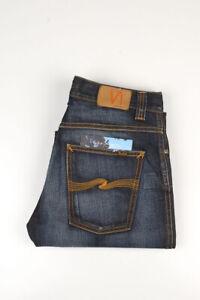 33217 Nudie Jeans Slim Jim Metal Inc Dunkelblau Herren Jeans Größe 32/34