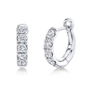 "14K White Gold Diamond Huggie Earrings Hinged Tiny 0.50"" Natural Round Cut"