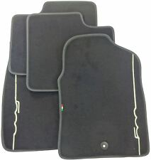 Genuine Fiat 500 Ivory Logo & Black Trim Car Floor Tailored Mats Carpet Full Set