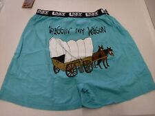 MENS LAZY ONE SIZE LARGE 36-38 BLUE DRAGGIN MY WAGON BOXERS NEW #18048